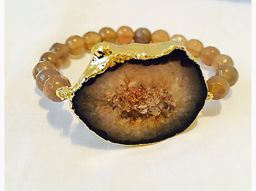 Brown Druzy Stone with Agate Faceted Beads
