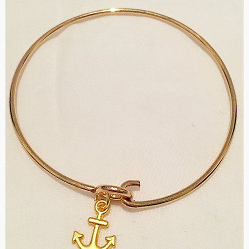 Silver plated Gold Tone Anchor Slim JA Bracelet