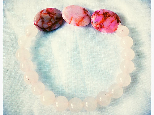 Pink Quartz Stone & Bead JA Bracelet