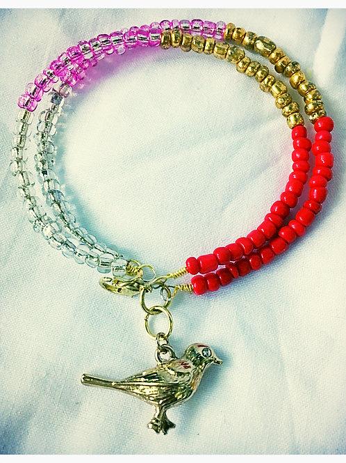 Gold, Red, Clear & Pink Bird JA Bracelet