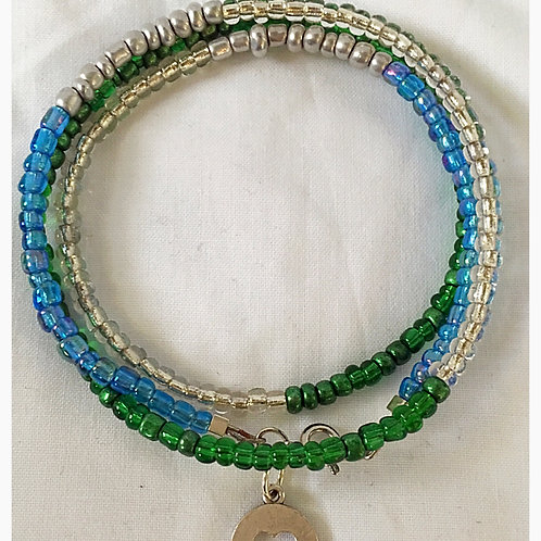 Silver, Aqua and Green Beaded Clover JA Bracelet