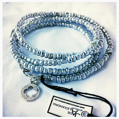 Silver Bead and Clover Cutout Charm Wrap