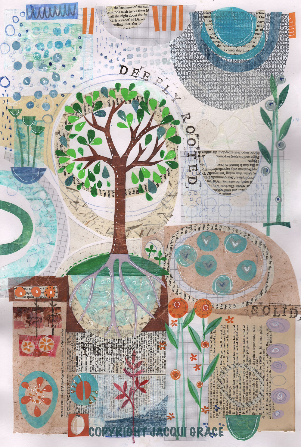 """Deeply rooted"" a mixed media collage based on Colossians 2v6"