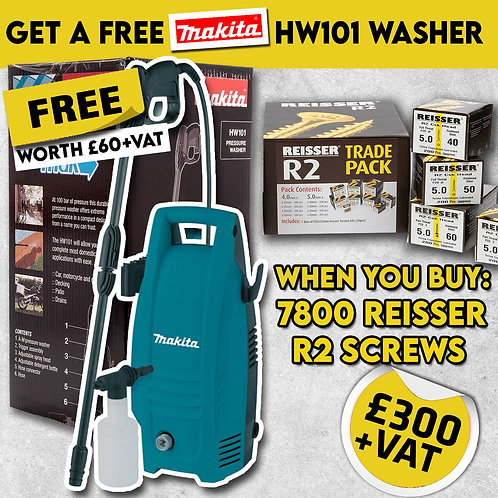 Reisser R2 Screw Pack FREE Makita Hw101 Pressure Washer