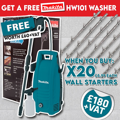 20 x Wallstarters with FREE MakitaHW101 Pressure Washer