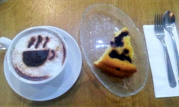 Cappucino & Homemade Lemon and Blueberry Cake