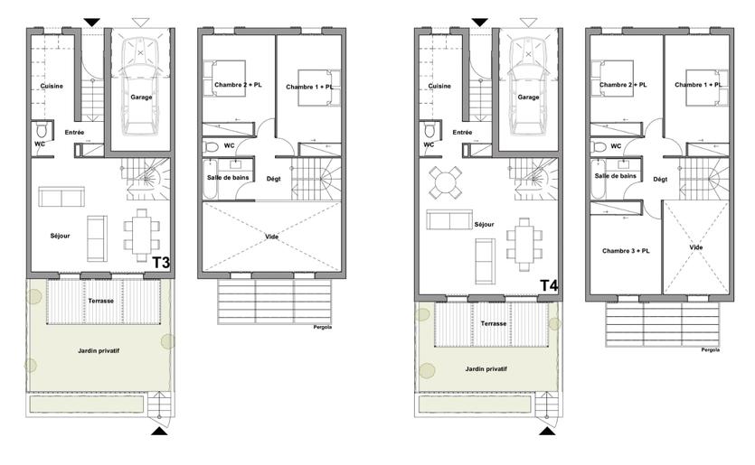 Plan des niveaux des villas zone C