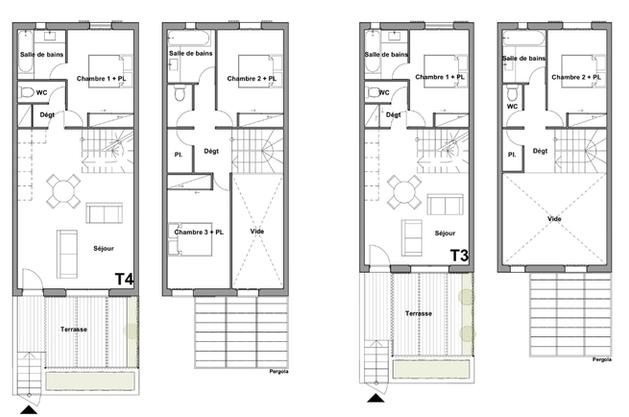 Plans  des niveaux des villas zone A