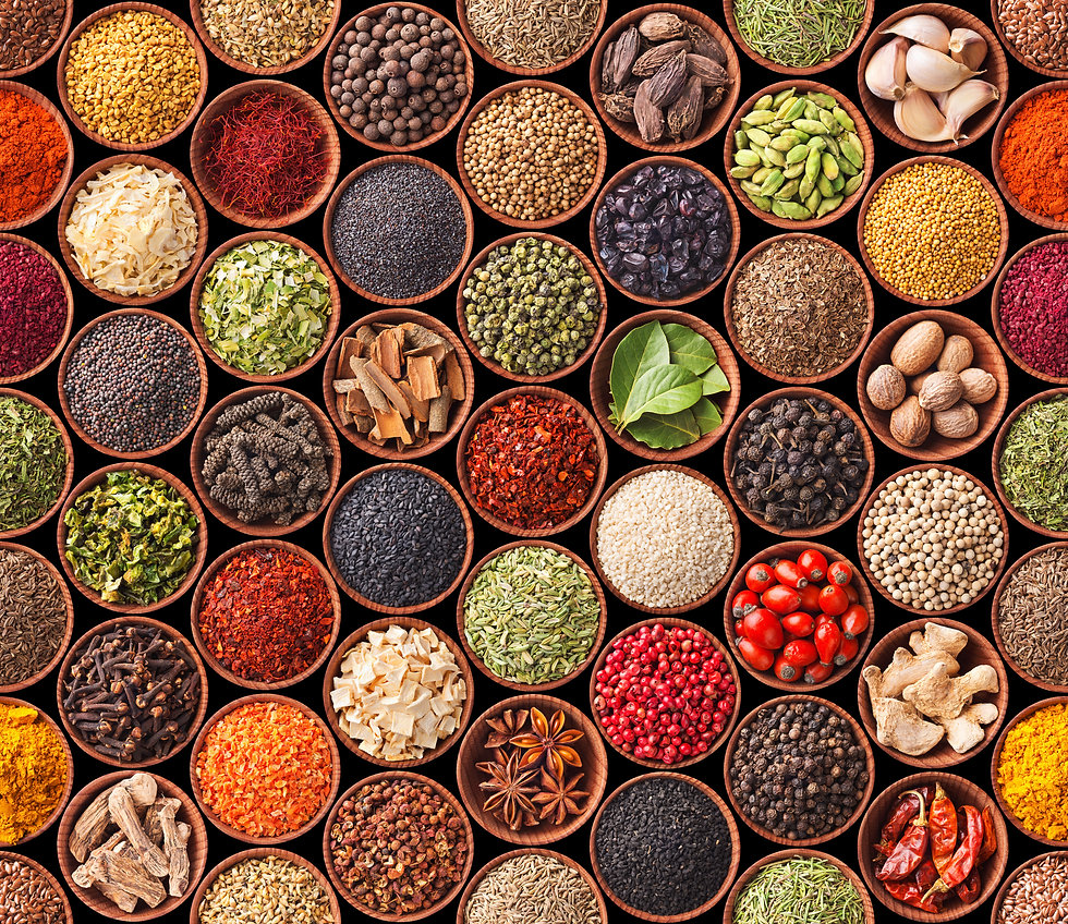 Seamless texture with spices and herbs.j