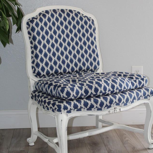 RE -UPHOLSTERED LOUIS SIDE CHAIR