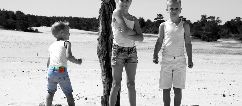 Sandy feet, happy kids.