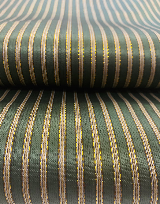 Forest Green & Gold Striped Silk Fabric