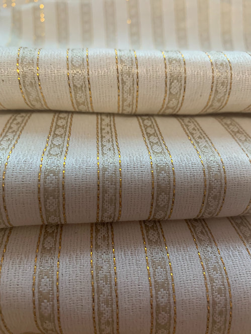 Soft White & Gold Striped Silk Fabric