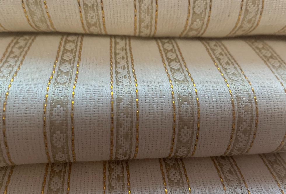 Soft White & Gold Striped Silk Fabric