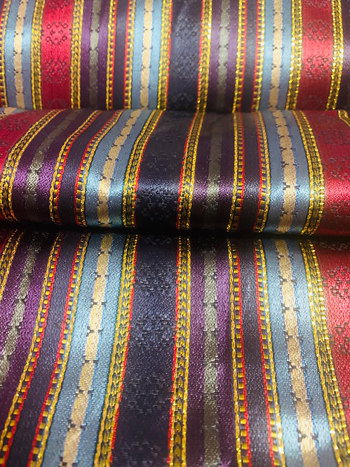 Royal Purple, Plum, Light Blue Blue & Navy Striped Silk Fabric with Gold Accents