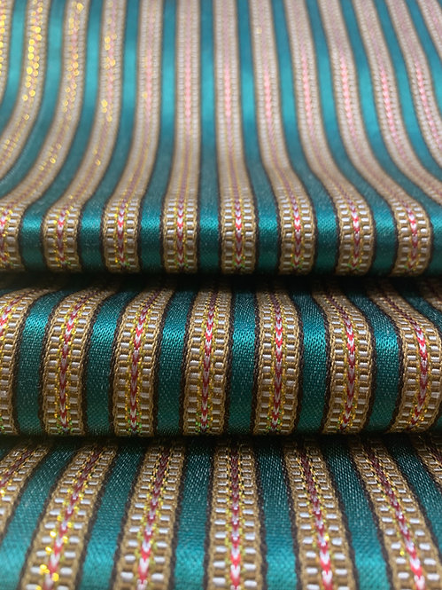 Bright Aqua Blue/Green Striped Silk Fabric