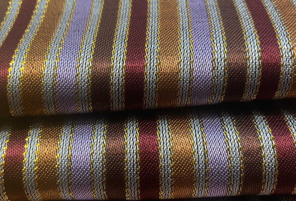 Soft Lavender, Plum, Earth Tones and Gold Striped Silk Fabric