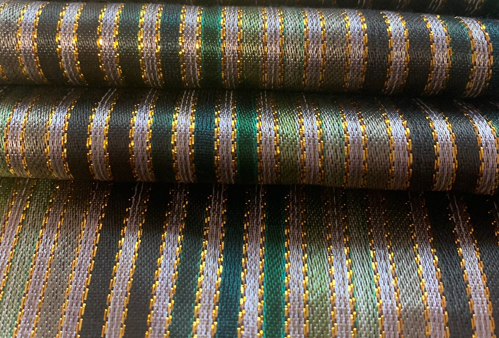 Shades of Green Striped Silk Fabric