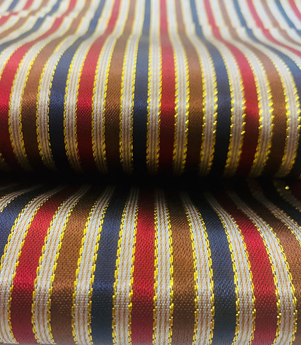 Ruby Red, Brown, Navy & Gold Striped  Syrian Fabric