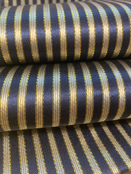 Dark Navy and Gold Striped Silk Fabric