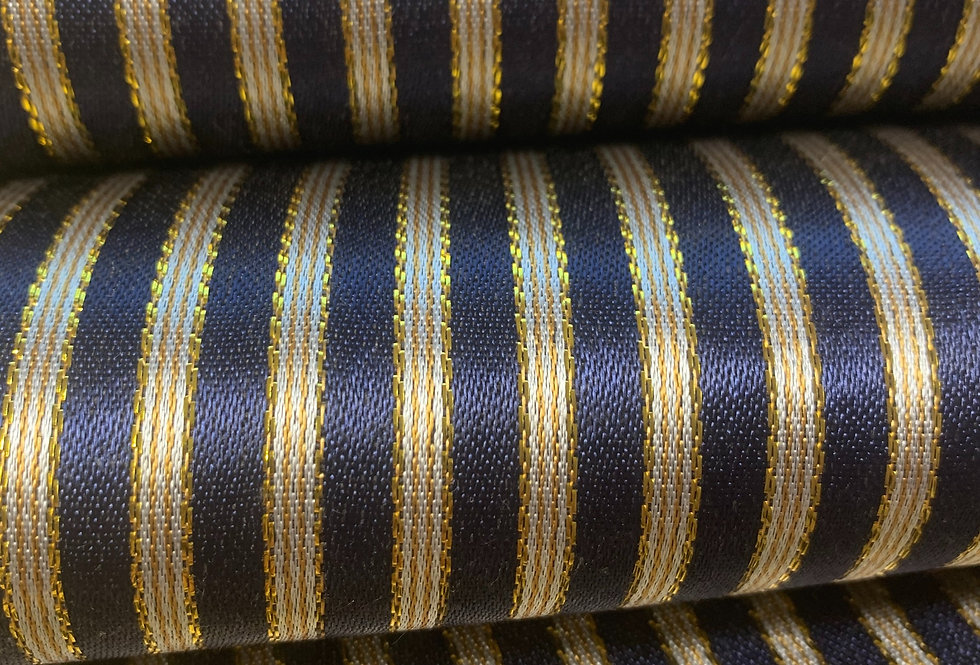 Dark Navy and Gold Striped Silk Fabric