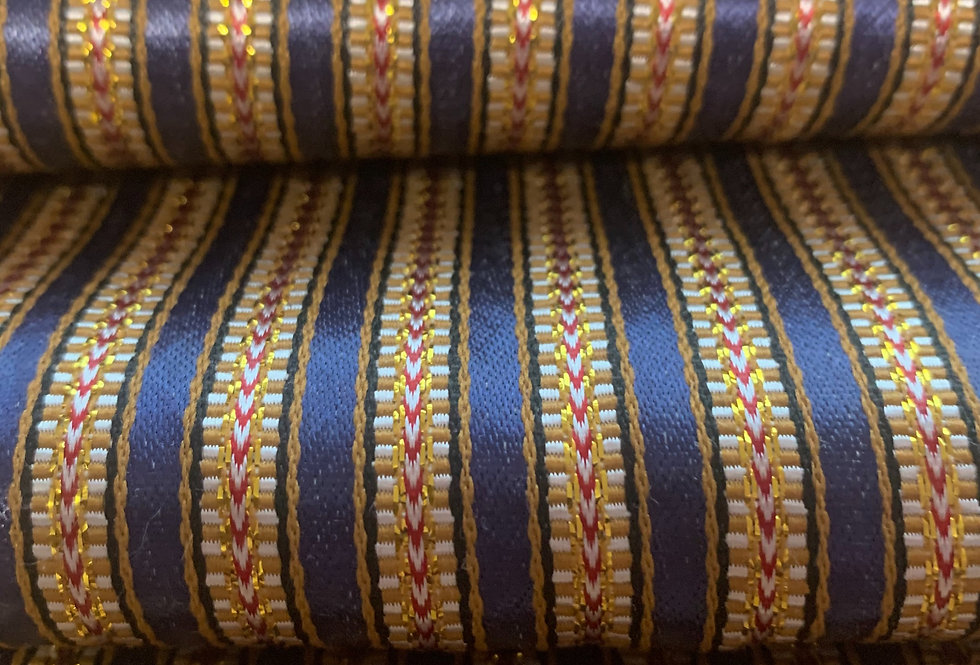 Navy Blue Striped Silk Fabric