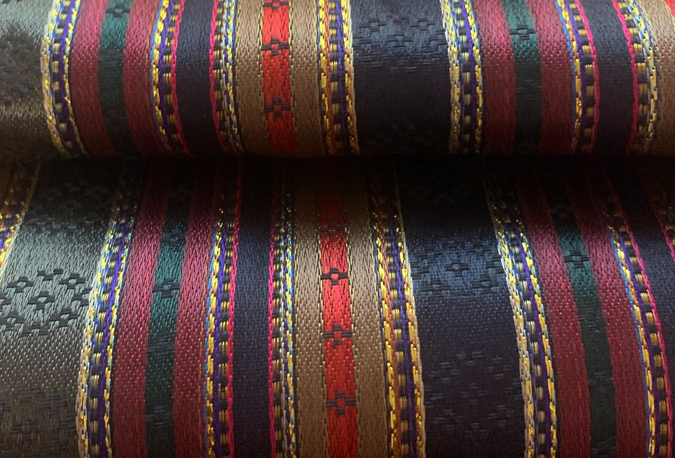 Dark Navy, Plum, Grey and Tan Striped Silk Fabric with Gold Accents