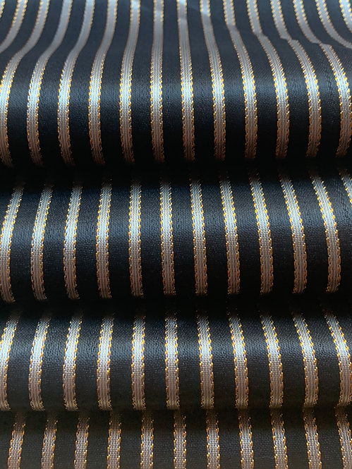 Black and Gold Striped Silk Fabric