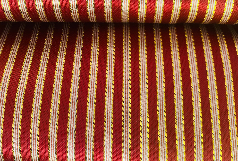 Ruby Red & Gold Striped  Syrian Fabric