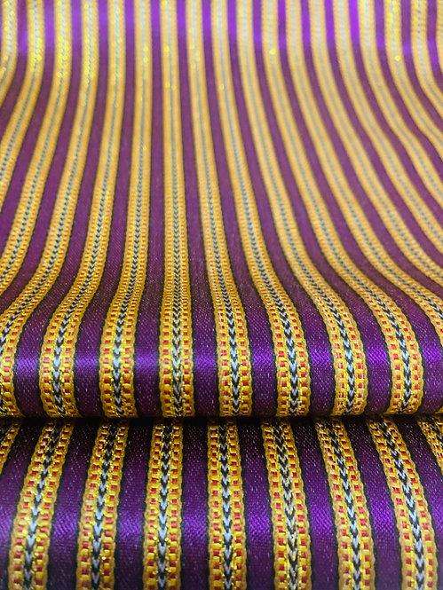 Bright Royal Purple Striped Silk Fabric