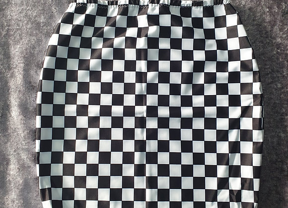 Black and White Check Bodycon Skirt size 6-8