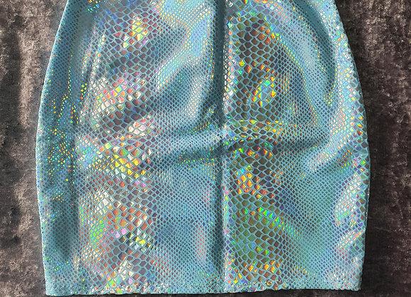 Blue Snakeskin Hologram Bodycon Skirt size 6-8