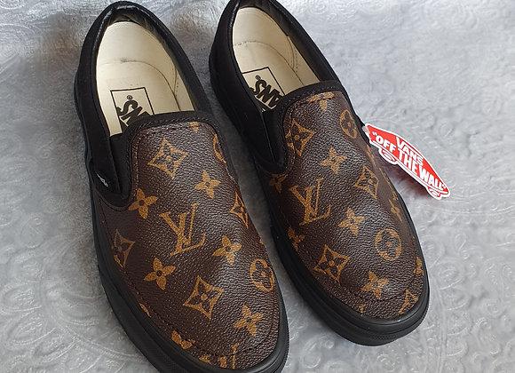 Brown Letter Slip On Vans Size 5