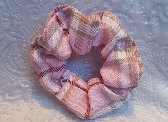 Pink Tartan Scrunchie