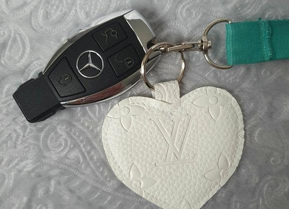White Heart Keyring