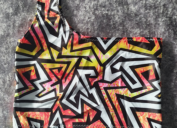 Abstract One Shoulder Crop Top size 6-8