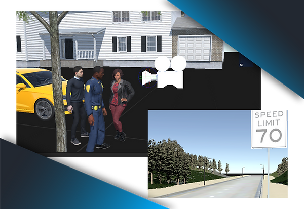 3D characters animated in a neigborhood and highway