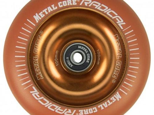 Rueda Metal Core RADICAL 100mm fluorescent goma naranja y nucleo naranja