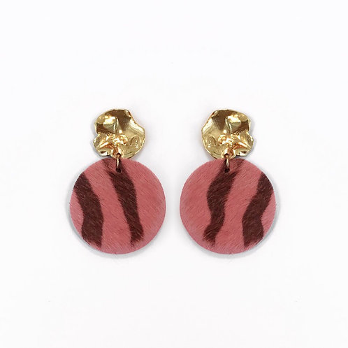 Pink Zebra Textured Disc Earrings