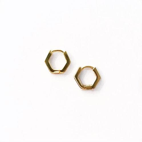 Hexagon Huggie Hoops