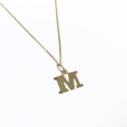 Solid Gold Mini Letter Necklace