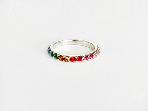 Rainbow Crystal Stacking Ring