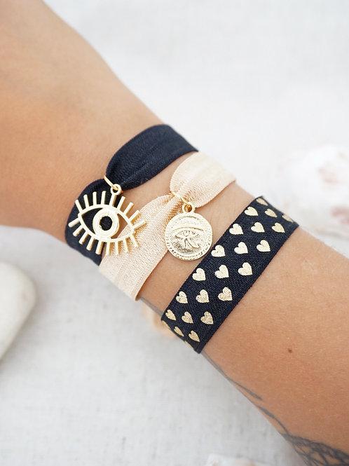 Lot de 3 bracelets IBIZA - Noir