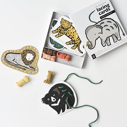 Jungle animals lacing cards