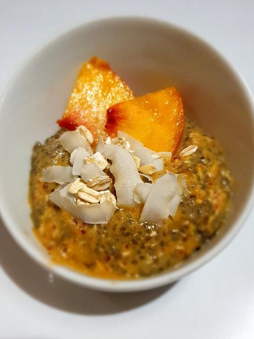 Budincă de piersici cu semințe chia si fulgi de ovăz 250gr