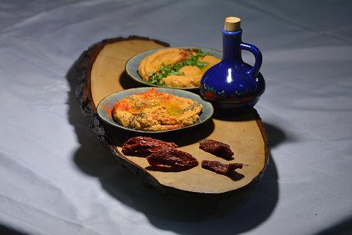 Hummus cu roșii uscate și pesto de busuioc 375gr