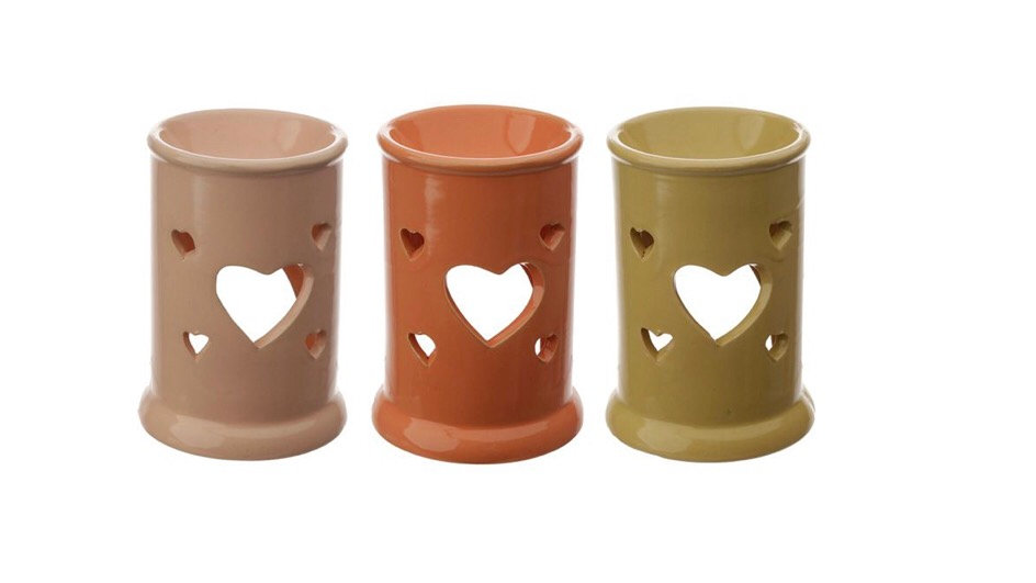 Tall Ceramic Oil and Tart Burner with Heart Cut-out