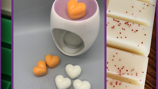 Colourful Wax Melter 9cm Set including 6 hearts Purple