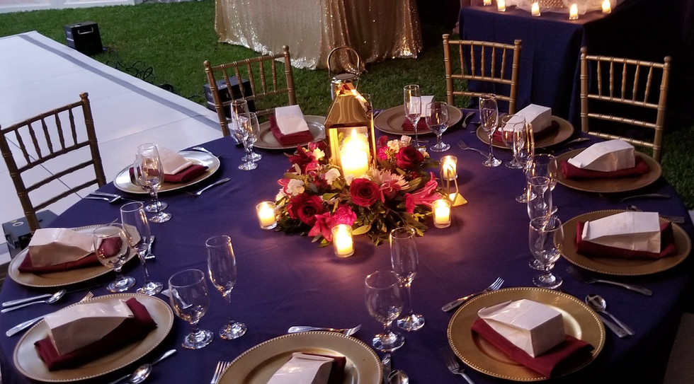 Gold Lantern Centerpiece with Floral Base