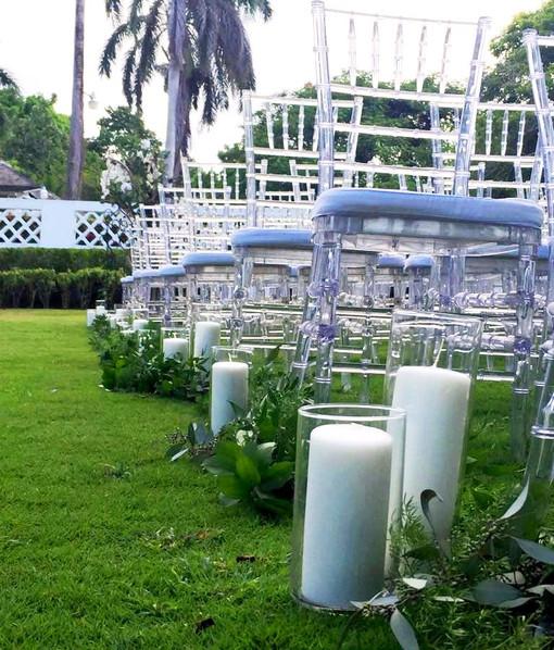 aisle decor with pillar candles